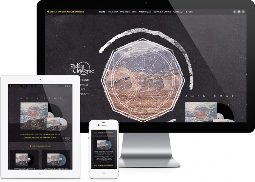 Riders of the Universe band website design